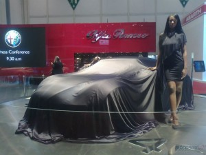 Alfa 4C, covered before presentation at the 2011 Geneva Motor Show
