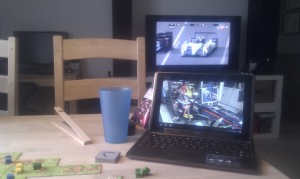 F1 on the Asus EeePad Transformer on BBC iPlayer via VPN and 24h Le Mans on the tv